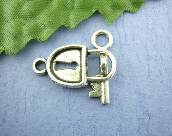 antique set of 6 Silver key and lock clasps