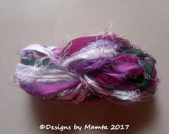 Lilacs Inspired Fair Trade Ribbon Yarn, Sari Ribbon Yarn, Ribbon Yarn, Recycled Sari Silk Yarn, Flower Inspired Yarn, Sari Silk Ribbon Yarn