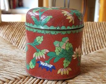 Antique cloisonne jar with lid