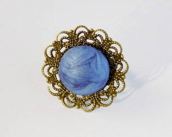 Blue Cabochon Vintage Round Bronze Ring