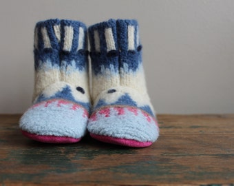 Felted Wool Baby Boots, Wool Booties, Wool Shoes, Baby Slipper US 9 Baby