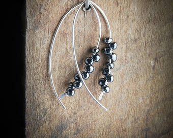 Silver and Black Hoop Earrings,Black Hoops,Black and Silver Threaders,Silver Hoops,Beaded Hoops,Hoops Black, Silver and Black Earrings.