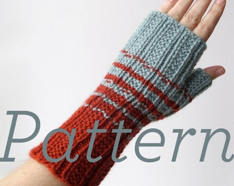 Knit Fingerless Gloves Pattern // Two-Color Fingerless Gloves  - pattern only - PDF