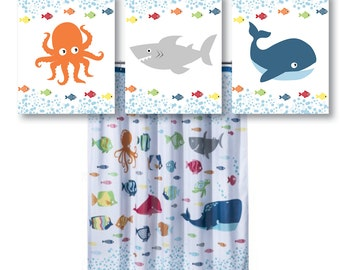 Boy Bathroom Art Print - Nautical Bathroom Art - Nautical Bath Art - Whale Bathroom Art - Shark Bath Art - Octopus Bath Art (NS-605)