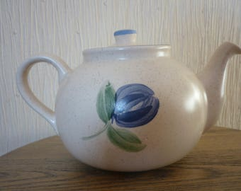 Vintage Oldcourt Pottery Teapot, Large Ceramic Teapot. Floral Teapot. Made in Staffordshire