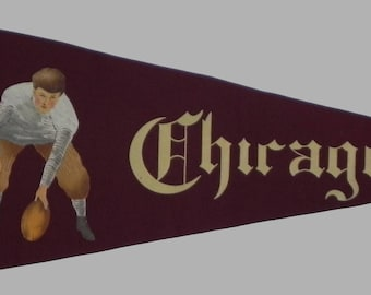 Spectacular Circa 1910 University  of Chicago Oversized Football Player Graphic Pennant