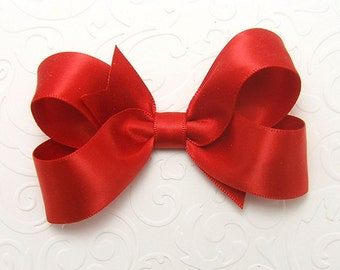 Red Satin Hair Bow, Red Satin Boutique Bow, 3 Inch Hair Bow For Little Girls, Red Hair Bow for Toddler, 57 Colors