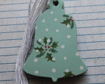 Gift Tags 21 Aqua polka dot with Holly leaves patterned paper over chipboard Bell shaped Gift Tags Hang Tags
