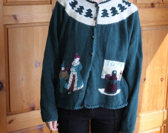 Vintage green tacky Christmas sweater by Alps Geyser