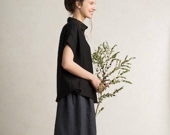Black linen shirt for women, Loose fit women's shirt, Short sleeve shirt, Black shirt, Black womens top, Linen women's clothing by LHI