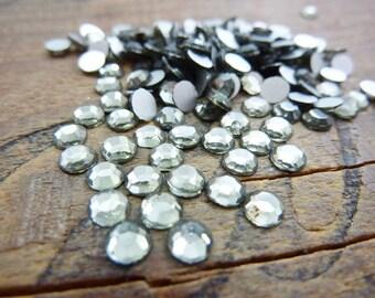 Vintage SS17 4.1mm Glass Chaton Rose Rhinestone Black Diamond (50)