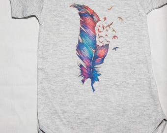 Colorful feather baby onesie bos-15