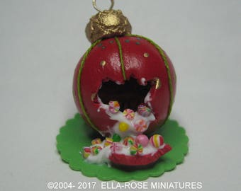 12th scale miniature handcrafted Christmas Bauble Candy display