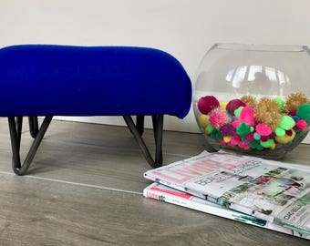 """Abraham Moon """"Park Lane"""" Cobalt Blue Retro Style Footstool with Industrial Hairpin Legs"""