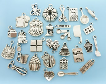 Cooking Baking Charm Set Lot Collection 30 Silver Cook Baker Chef Silver Charms Pendants cooking charms baking charms pendants