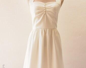 Off White Prom Dress 1950 Halter Wedding Dress, Bacholerette Vintage Dress Off White Party Dress White Summer Dress Bridesmaid Dress
