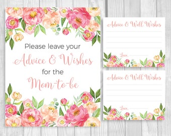 Please Leave Your Advice and Wishes 5x7, 8x10 Printable Baby Shower Sign and 4x5 Cards - Coral Pink Watercolor Peonies - Instant Download
