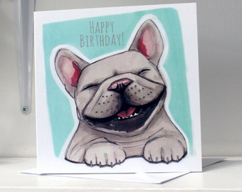 French Bulldog Happy Birthday Card - Turquoise | Frenchie Birthday Card | French Bulldog Card