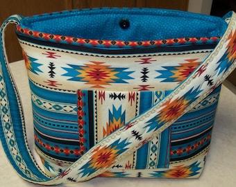 Southwest Navajo Indian Native American Tribal Teal Creme southwestern Handbag Purse Coin Change purse and Key Chain