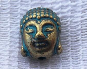 10 Heavy Patinaed Antiqued Brass Buddha Head Beads