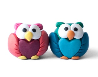Clay Heart Owl Couple or Single
