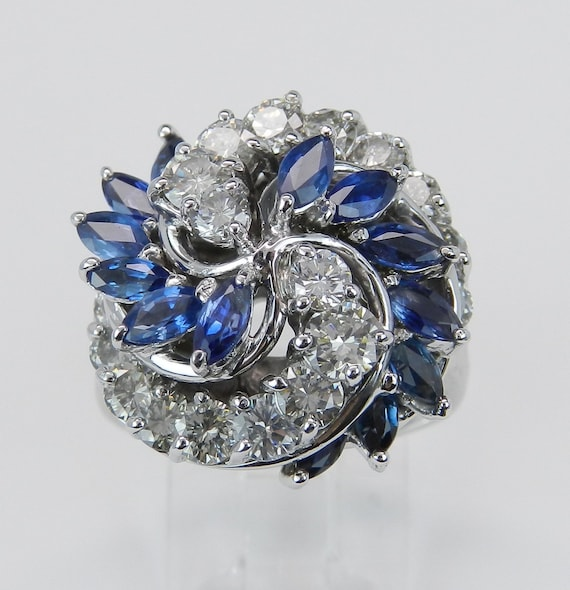 2.85 ct Sapphire and Diamond Dome Ring Vintage Estate Antique Ring 18K White Gold