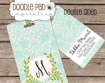 Women's Luggage Tag, Monogrammed Luggage Tag, Personalized Bag Tag