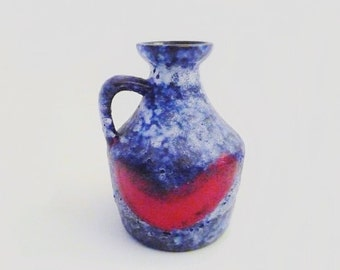 Vintage Vase Fat Lava Pottery by Strehla Made in GDR in Blue and red Small Size