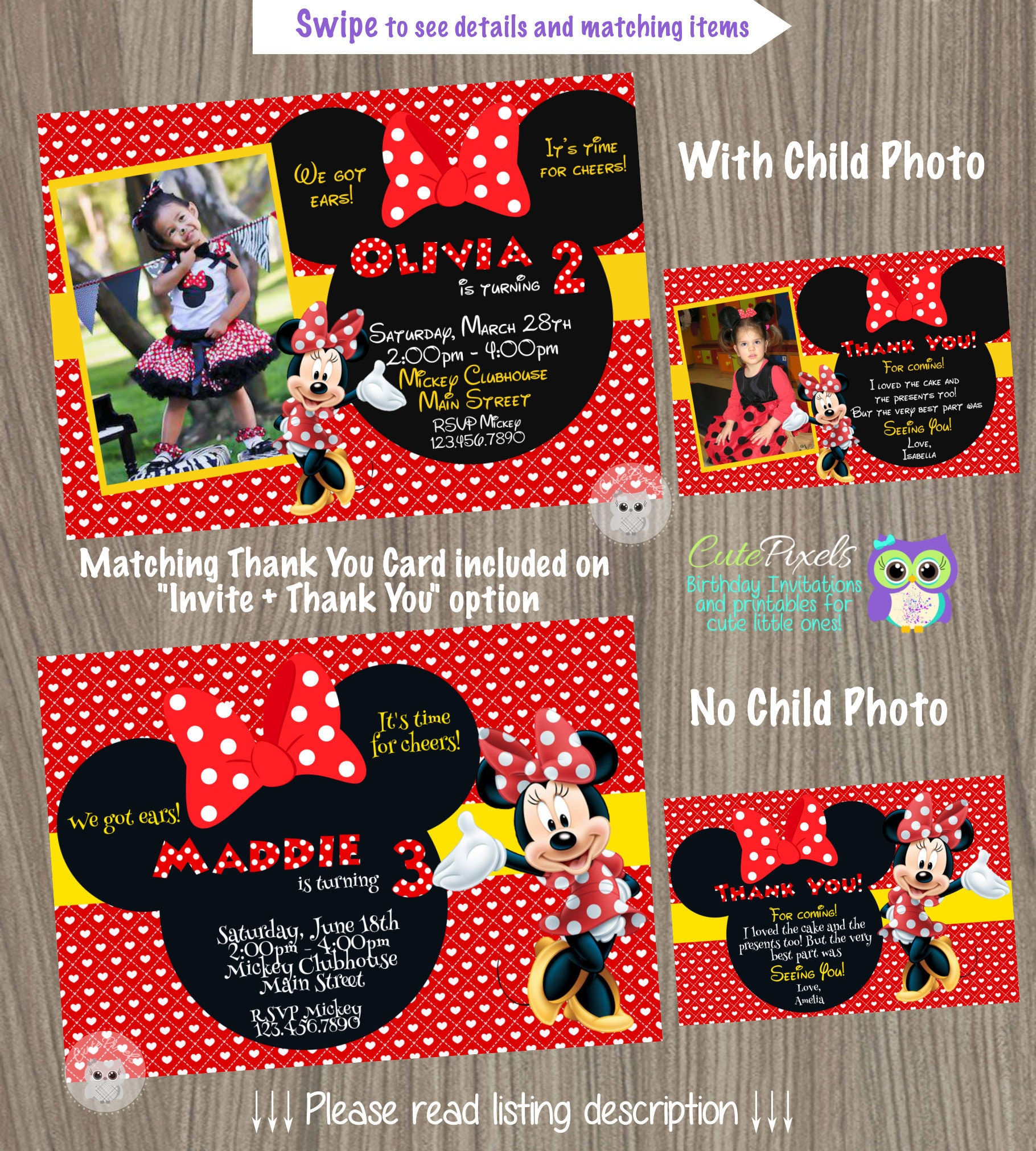 Minnie Mouse Invitation Minnie Mouse Birthday Minnie Mouse