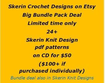 Big Bundle Crochet Pack - Limited Time Only - 23+ Skerin Crochet Designs pdf files on CD