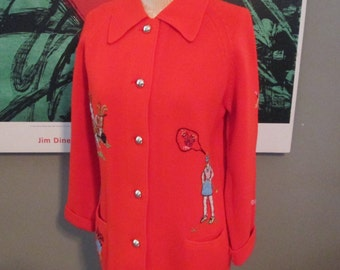 Vintage Red Knit Golf Sweater, Andreno Argenti