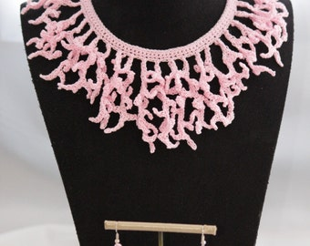 """Coral rose"" earrings and necklace"