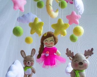 Baby mobile, Baby Crib Mobile, Felt Mobile, pink princess mobile, deer mobile,   bunny mobile, girl mobile, nursery mobile