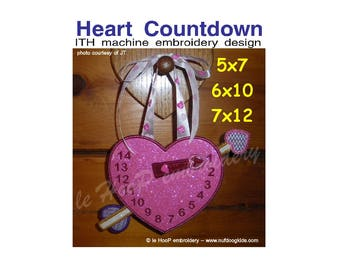 HEART COUNTDOWN Machine Embroidery In Hoop Design 5x7 6x10 7x12 8x12  10x14 ITH  clock Valentine Anniversary Wedding