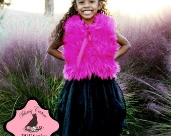 Fur Vest --sizes 6 months- 12 girls PDF Instant Whimsy Couture Sewing Pattern Tutorial ebook