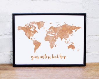 Rose gold map etsy copper wall art gold world map print custom quote rose gold wall art copper world map gumiabroncs Choice Image