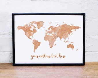 Copper Wall Art Gold World Map Print Custom Quote Rose Gold Wall Art Copper  World Map Personalised Quote Print World Map Poster Copper Print