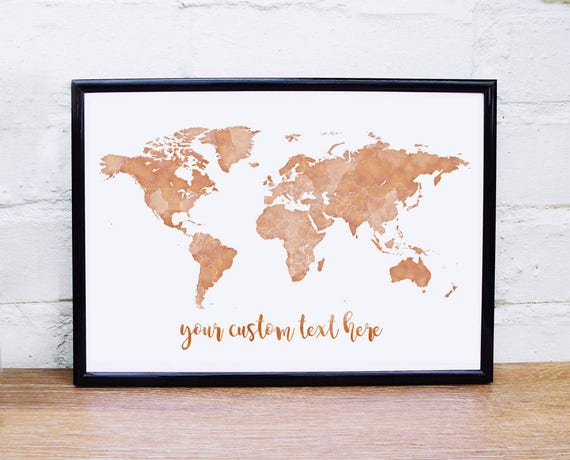 Copper wall art gold world map print custom quote rose gold copper wall art gold world map print custom quote rose gold wall art copper world map personalised quote print world map poster copper print gumiabroncs Images