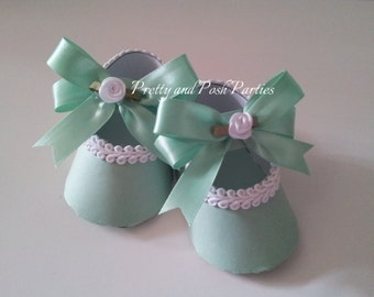 10 Adorable Embellished Mint Green and white Paper Shoe Favor Boxes