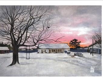 Paysage de neige, hiver, noël, Virginia beach, quartier, rue, nathaniel court, couché de soleil