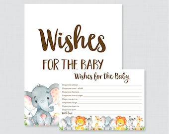 Safari Wishes for Baby Baby Shower Activity - Printable Well Wishes for Baby Cards and Sign - Instant Download- Safari Animal Baby 0060