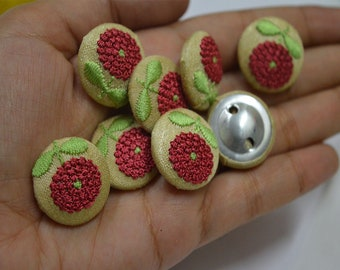 Maroon Embroidered button Decorative Indian Fancy Button Handcrafted Fabric Cover Button Embellishment Button Crafting Supplies Sewing
