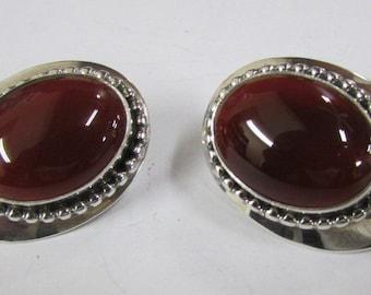 Sterling Silver and Carnelian Post Earrings