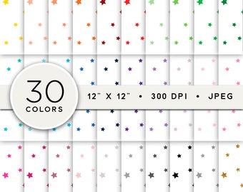 Star Digital Paper, Mini Stars Digital Paper Pack, Little Stars Pattern Digital Paper Set, Set of 30, Stars Scrapbook Paper Bundle