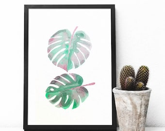 """Split Leaf Philodendron Plant Watercolor - Tropical Plant - Original Painting - Made to order - 6x9"""" - Custom Size and/or Color"""
