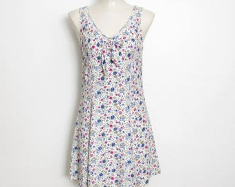 Byer Too! Sundress / Sleeveless Floral Print w/ Tie Front / Vintage 80s - 90s Grunge Mini Dress