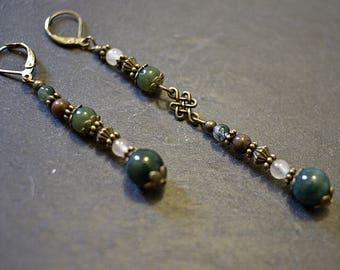 'Dumhag' agate Jasper - Vintage Celtic Garnet Earrings
