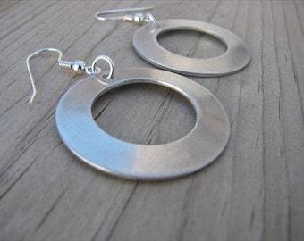 Silver Circle Earrings- Large