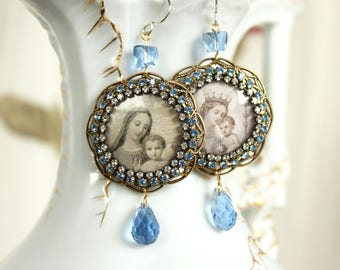 Mother and child devotional earrings Mary Jesus mothers day gift blue rhinestone spiritual religious jewelry statement holy card images