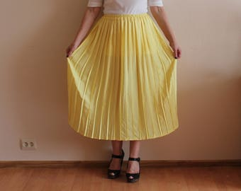 Yellow Skirts Pleated Skirts Accordion Pleated Midi Skirts Pale Yellow  Summer Skirts Vintage Skirts Retro Skirts Elastic Waist